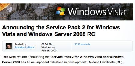 Il Service Pack 2 di Windows Vista diventa Release Candidate