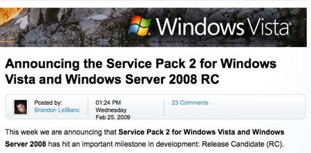 Il Service Pack 2 di Windows Vista diventa Release Candidate
