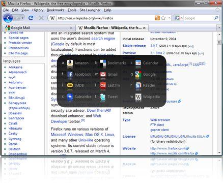 Site Launcher rimpiazza la barra dei preferiti su Firefox