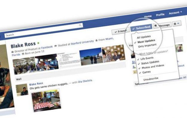 Sul social network Facebook un pulsante per seguire gli aggiornamenti pubblici