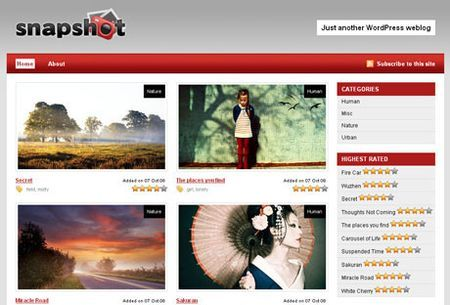 template wordpress blog fotografici snapshot