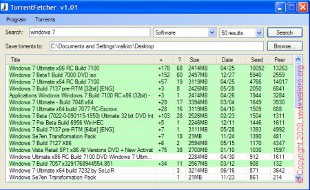 Torrent Fetcher: ricerca sul desktop