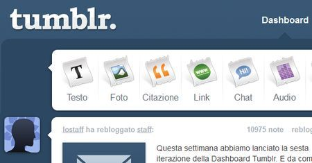 tumblr inserire contenuti