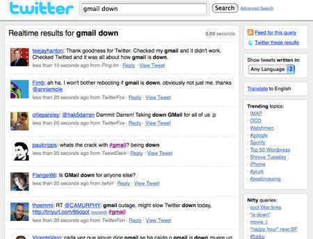 Twitter: gmail down