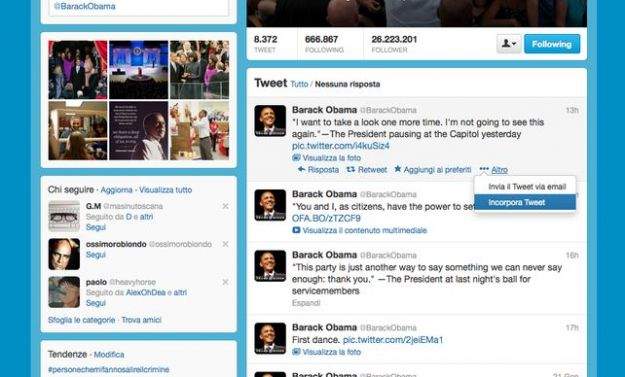 twitter tweet integrati nei siti