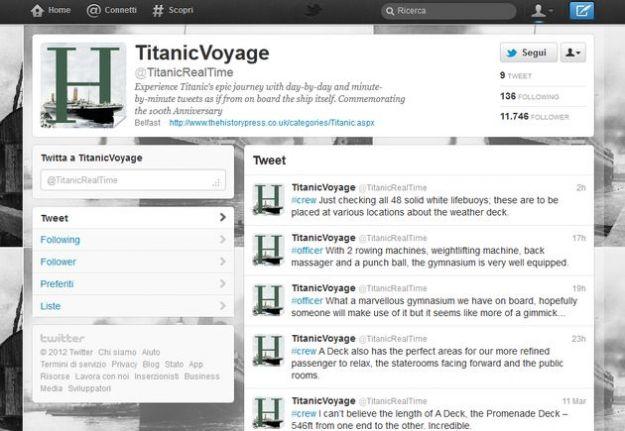Su Twitter il viaggio del Titanic raccontato in tempo reale