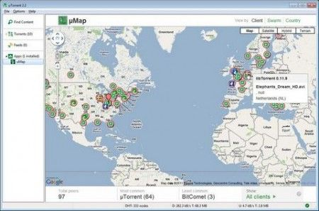 uMap uTorrent google maps