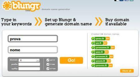 Generare nomi di dominio liberi per siti internet con Blungr