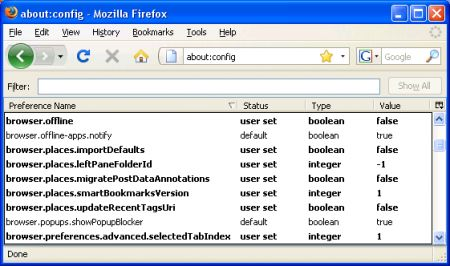velocizzare firefox about config