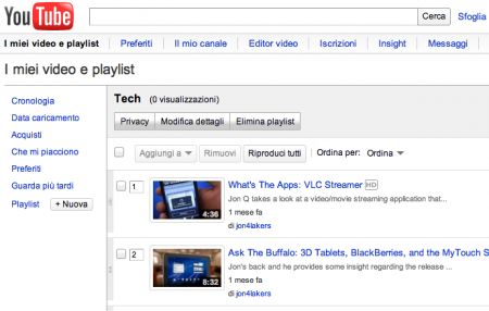 Inserire i video di YouTube nella playlist