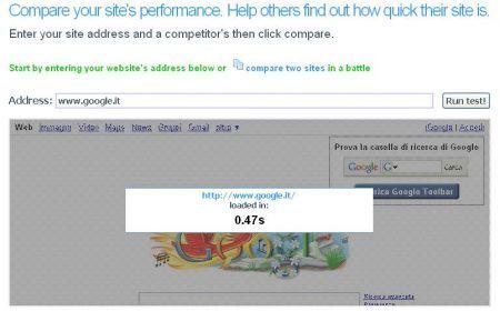 WebSlug misura il tempo di caricamento di un sito