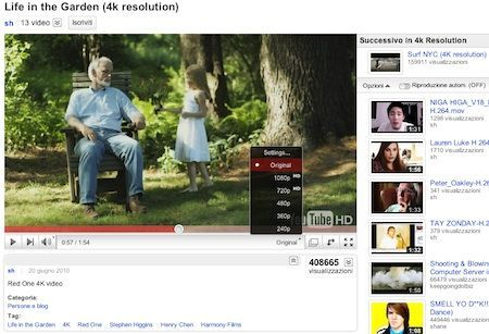YouTube introduce i video con risoluzione 4k