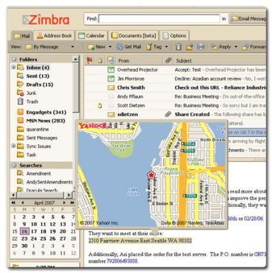 Zimbra screenshot