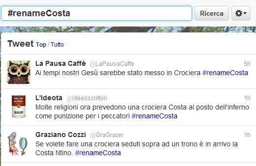 #renameCosta, gli screenshot di Twitter