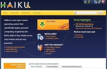 Haiku, versione open source del sistema BeOS