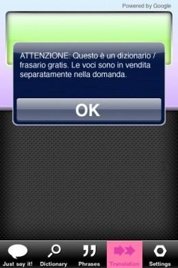 Parlami dizionario iPhone: traduzione