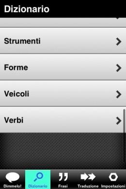 Parlami dizionario iPhone: strumenti