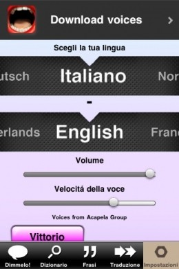 L'iPhone parla col dizionario Parlami