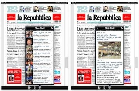 La Repubblica per iPad - finestre sovrapposte