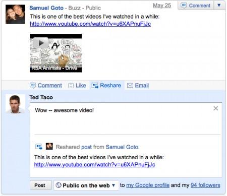 Google Buzz - ricondivisione di un messaggio