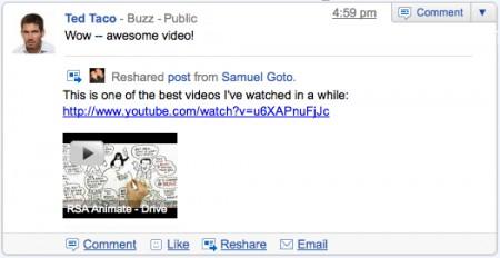 Google Buzz - messaggio ricondiviso