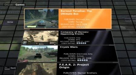 OnLive - scelta giochi