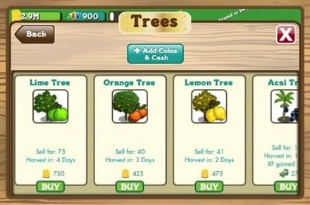 FarmVille per iPhone - alberi