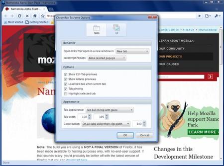 Temi Firefox: Chromifox opzioni