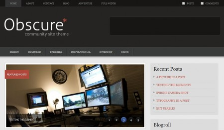 Template per Wordpress Obscure: home
