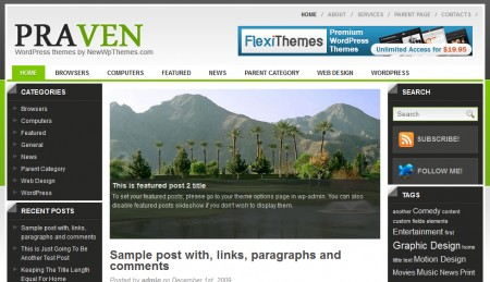 Template Wordpress premium Praven: home
