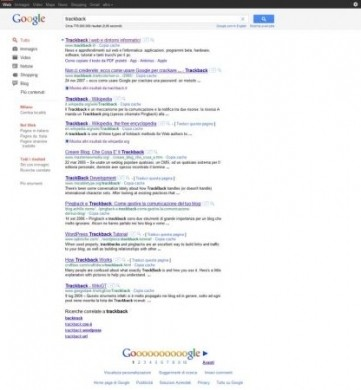 Ricerca Google: grafica risultati