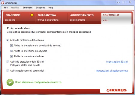 Antivirus PC in test: Ikarus Virus Utilities