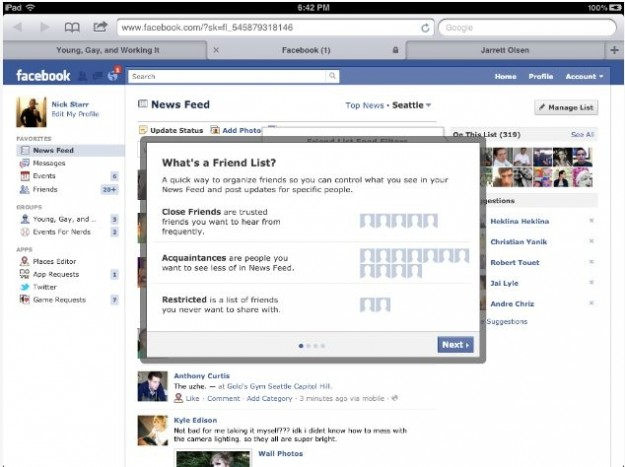 La guida di Facebook per le nuove liste di amici