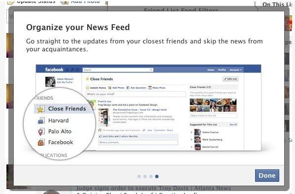 Il nuovo news feed con le inedite liste di amici su Facebook