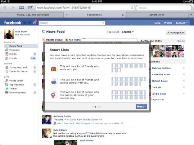 Le smart lists sono delle liste veloci di amici su Facebook