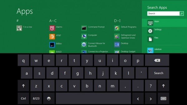 La tastiera virtuale su Windows 8 per Tablet