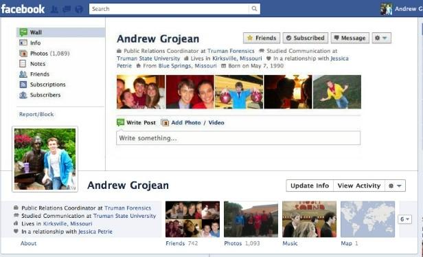 Nuova timeline di Facebook: vecchio profilo