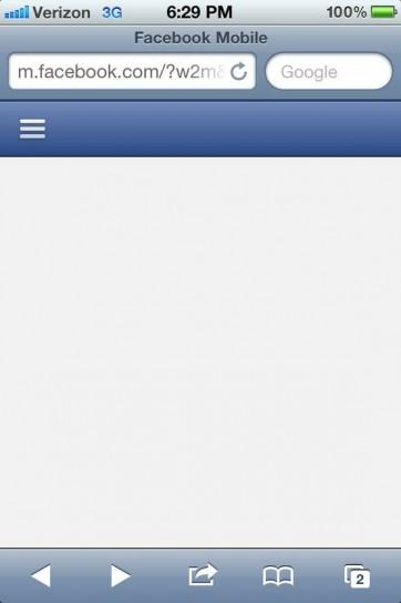 Errori di Facebook: mobile