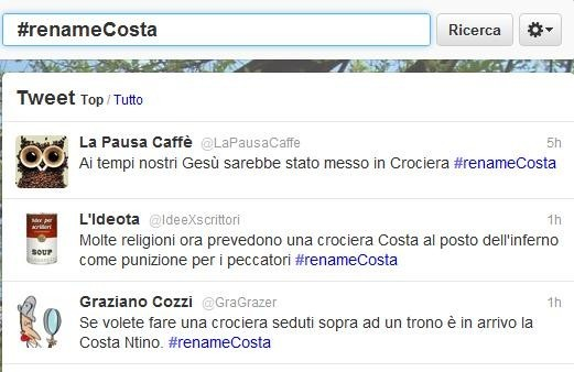 #renameCosta, l'hashtag su Twitter