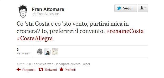 Il tweet di Fran Altomare su #renameCosta
