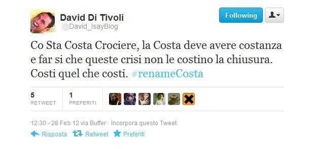#renameCosta, il tweet di David Di Tivoli