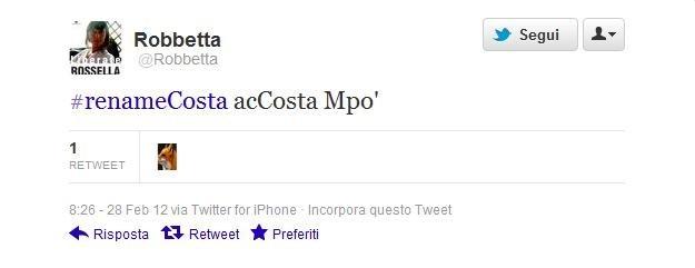 #renameCosta, la proposta di Robbetta