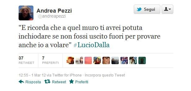 Lucio Dalla morto, il ricordo di Andrea Pezzi
