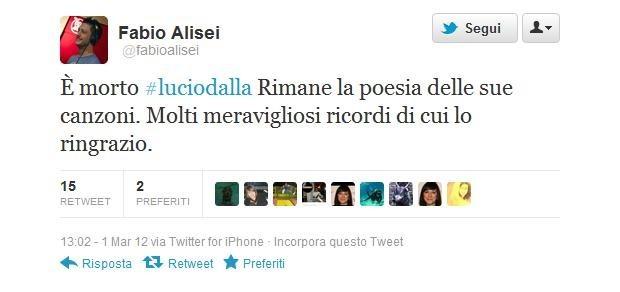 Lucio Dalla morto, Fabio Alisei lo omaggia su Twitter