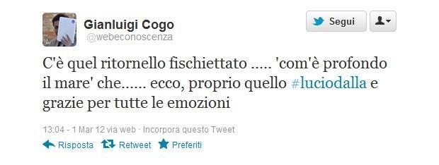 Lucio Dalla morto, il messaggio di Gianluigi Cogo