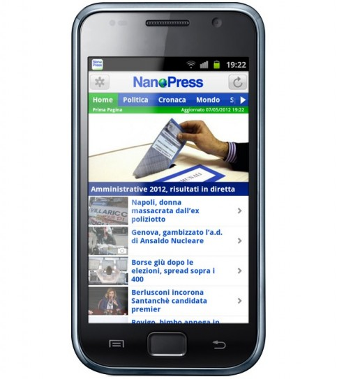Le immagini dell'app Nanopress per Android