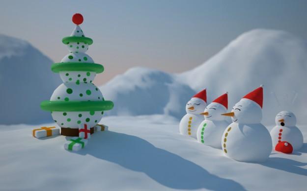 Pupazzi di neve a forma di pallina