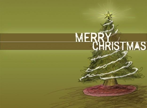Cartolina Merry Christmas verde