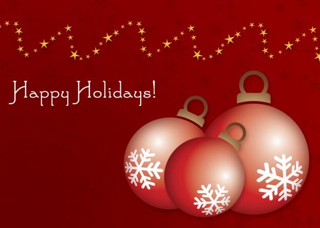 Happy Holidays e palline con fiocchi di neve