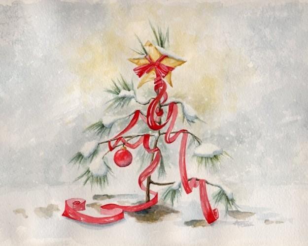 Albero di Natale con stella gialla